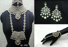 Stunning Heavy Stone & Pearl Work Bridal Necklace Set1940
