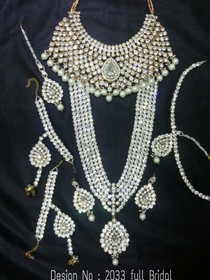 Stunning Heavy Stone & Pearl Work Bridal Necklace Set1941