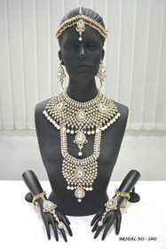 Stunning Heavy Stone & Pearl Work Bridal Necklace Set1942
