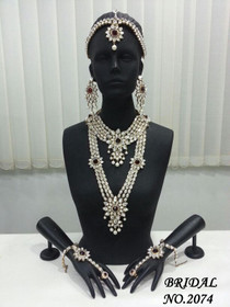 Stunning Heavy Stone & Pearl Work Bridal Necklace Set1944