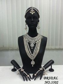 Stunning Heavy Stone & Pearl Work Bridal Necklace Set1946