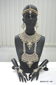 Stunning Heavy Stone & Pearl Work Bridal Necklace Set1948