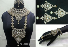 Stunning Heavy Stone & Pearl Work Bridal Necklace Set1949