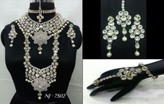 Stunning Heavy Stone & Pearl Work Bridal Necklace Set1951