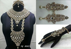 Stunning Heavy Stone & Pearl Work Bridal Necklace Set1952