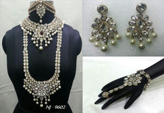 Stunning Heavy Stone & Pearl Work Bridal Necklace Set1953