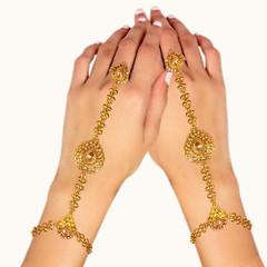 Stunning Gold Plated Stone Work Hand Cuffs1994