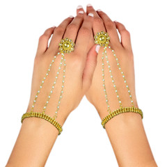 Stunning Gold Plated Pearl Work Hand Cuffs1996