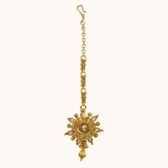 Stunning Gold Plated Floral Pattern Maang Tikka1977