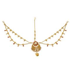 Stunning Gold Plated Ruby Work Maang Tikka1990