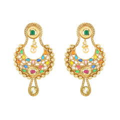 Stunning Gold Plated Multi Stone Work Earrings2001