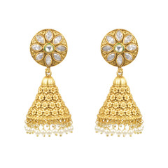 Stunning Gold Plated Pearl Work Jhumka Style Earrings2002