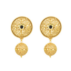 Stunning Gold Plated Black Stone Work Earrings2008
