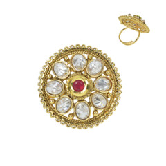 Stunning Gold Plated White Stone Work Ring1965