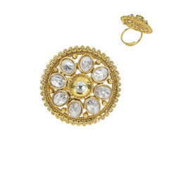 Stunning Gold Plated White Stone Work Ring1966
