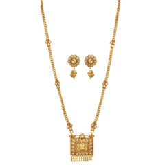 Stunning Gold Plated Mangal Sutra Style Necklace Set2032