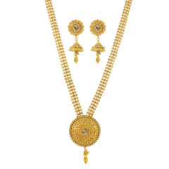 Stunning Gold Plated Beads Chain Work Necklace Set2037