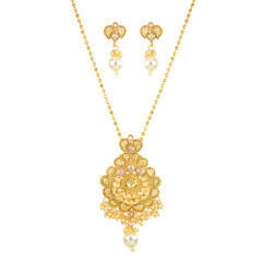 Stunning Gold Plated Locket Style Necklace Set2039