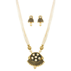 Stunning Gold Plated Pearl & Minakari Necklace Set2041