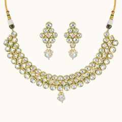 Stunning Gold Plated Kundan Work Necklace Set2044