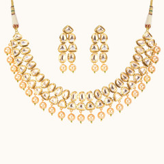 Stunning Gold Plated Kundan Work Necklace Set2047