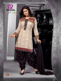 Cream and Black color straight Fit Full Sleeve Cotton Fabric Patiala Suit