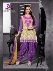 Purple color Full Sleeve Cotton Fabric Patiala Suit
