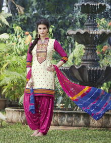 Cream and Pink color Contrast Combination Pure Cotton Fabric Patiala Suit