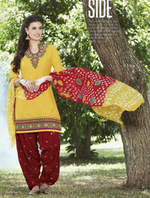 Yellow and Maroon color Contrast Combination Pure Cotton Fabric Ban Neck Design Patiala Suit