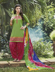 Green and Red color Contrast Combination Pure Cotton Fabric Patiala Suit