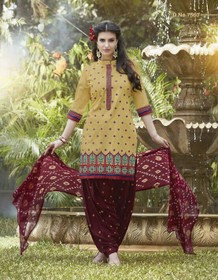 Mustard and Maroon color Contrast Combination Pure Cotton Fabric Ban Neck Design Patiala Suit