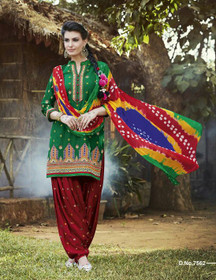 Green and Red color Contrast Combination Pure Cotton Fabric Ban Neck Design Patiala Suit
