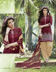 Maroon and Beige color Contrast Combination Pure Cotton Fabric Ban Neck Design Patiala Suit