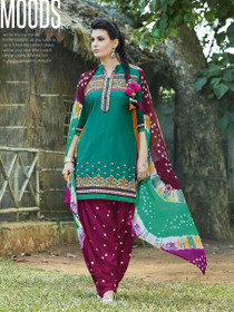 Green and Maroon color Contrast Combination Pure Cotton Fabric Ban Neck Design Patiala Suit