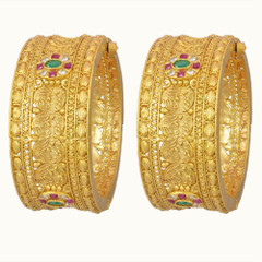 Gold Plated Stone Studded Set of Kada