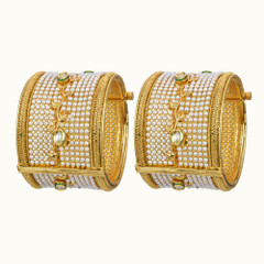 Heavy Pearl Work Gold Plated Set of Kada