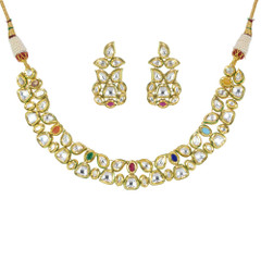 Kundan and Multi Stone work Gold Plated Necklace Set
