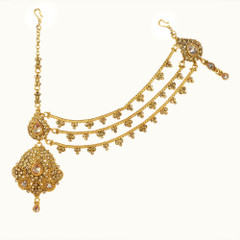 Gold Plated Stone studded Maang Tikka