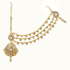 Bridal Wear Gold Plated White Stone studded Maang Tikka