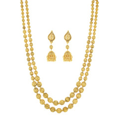 Traditional  Matar Mala Style Double Chain work Gold Plated Necklace Set