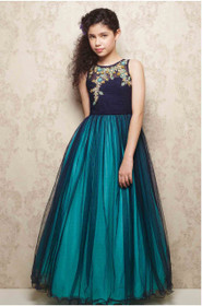 Cut Sleeve Ankle Length Turquoise and Navy Blue color Soft Net Fabric Gown