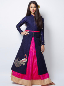Navy Blue and Magenta color Combination Indowestern Style Centre Cut Full Sleeve Banglori Silk Fabric Dress