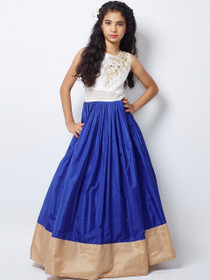 Royal Blue and White color Floor Length Cut Sleeve Tapeta Silk Fabric Gown