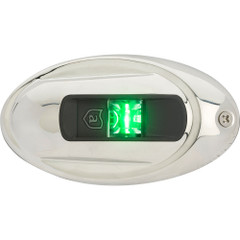 Attwood LightArmor Vertical Surface Mount Navigation Light - Oval - Starboard (green) - Stainless Steel - 2NM [NV4012SSG-7]