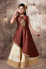 Chocolate and Cream color Contrast Floor Length Cut Sleeve Jacquard Silk Fabric Gown