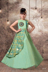Green color Floor Length Cut Sleeve Mushroom and Jacquard Silk Fabric Layer Gown