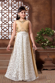 Golden and White color Cut Sleeve Floor Length Jacquard Silk Fabric Gown
