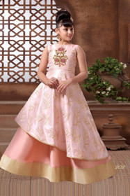 Pink color Cut Sleeve Floor Length Layered Bubble Silk Fabric Gown