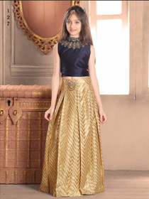 Golden color Taffeta Jacquard Fabric Lehenga Choli