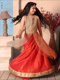 Orange color Banglori Silk Fabric Lehenga Choli